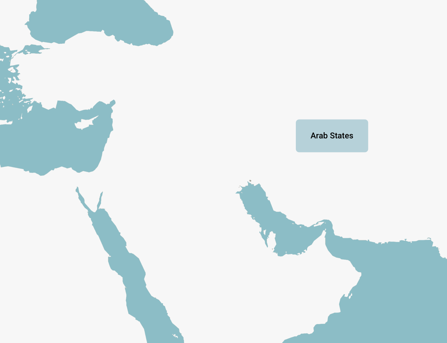 A blank map of the Arab States in the middle east