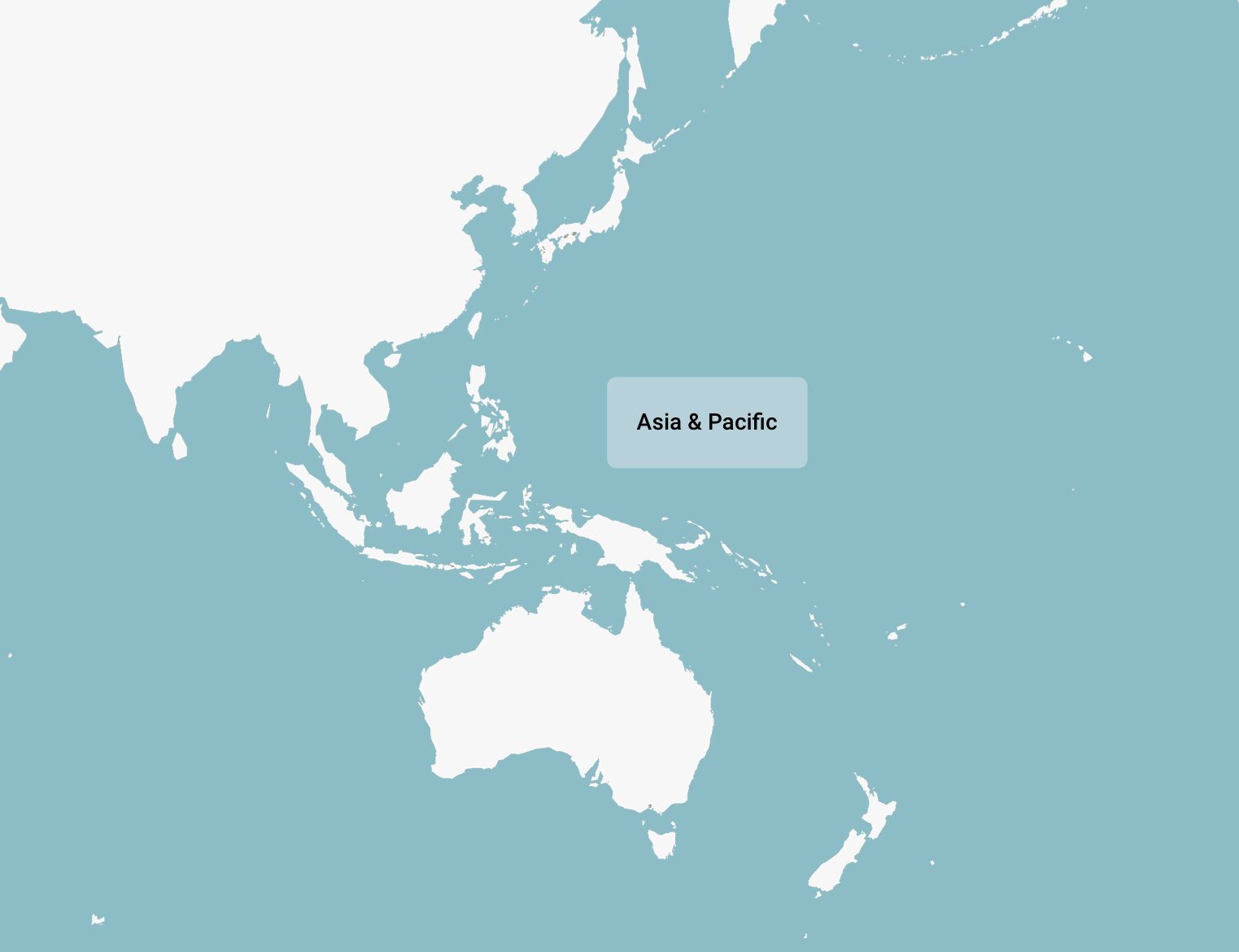 A blank map showing Asia Pacific region, including Australia and New Zealand