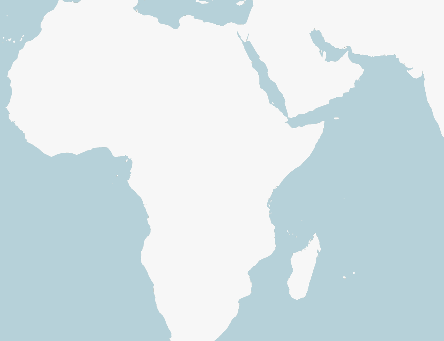 A blank map of Africa, with a blue background