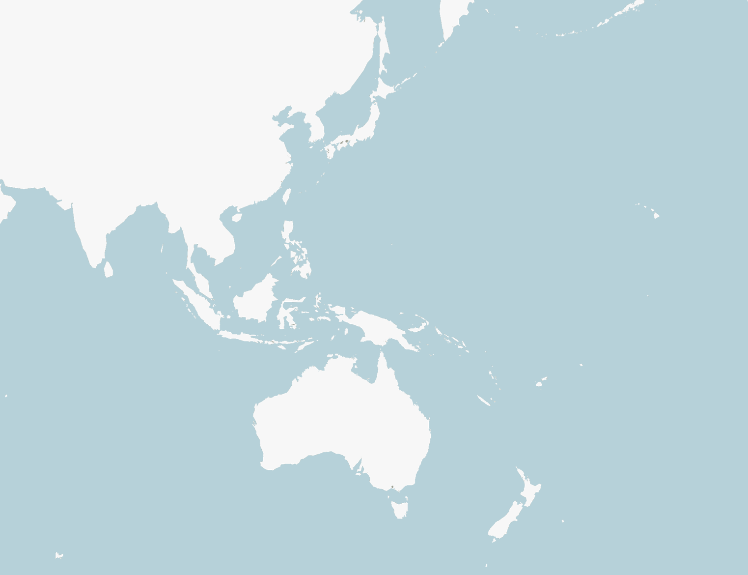 A blank map of Asia and the Pacific region with a blue background